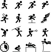 Running, jumping and throwing icons. Professional icons for your print project or Web site. See more in this series.