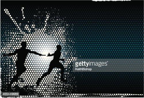 Relay Wallpaper: Track Field Relay Race Runners Background Vector Art