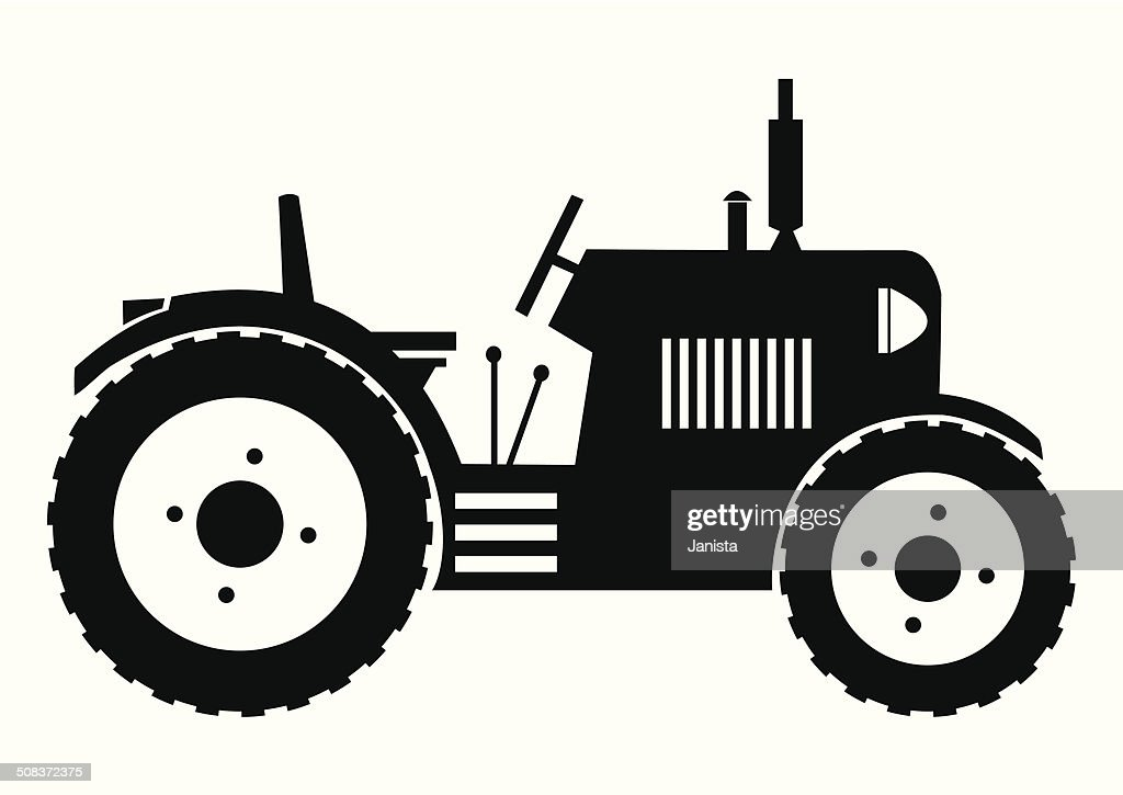Animated John Deere Tractor Outline : Tractor black silhouette vector art getty images