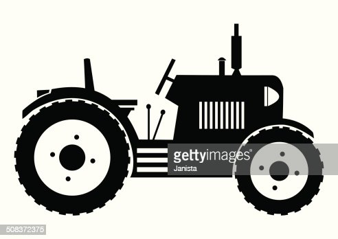 Tractor Black Silhouette Vector Art | Getty Images