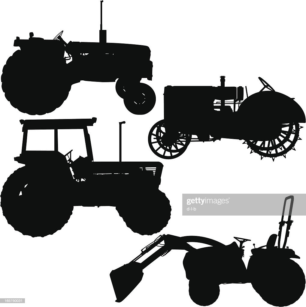 Antique Tractor Silhouette : Tractor silhouettes modern and antique vector art getty