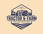 Tractor illustration or farm illustration, suitable for any business related to farm industries. Simple and retro look.