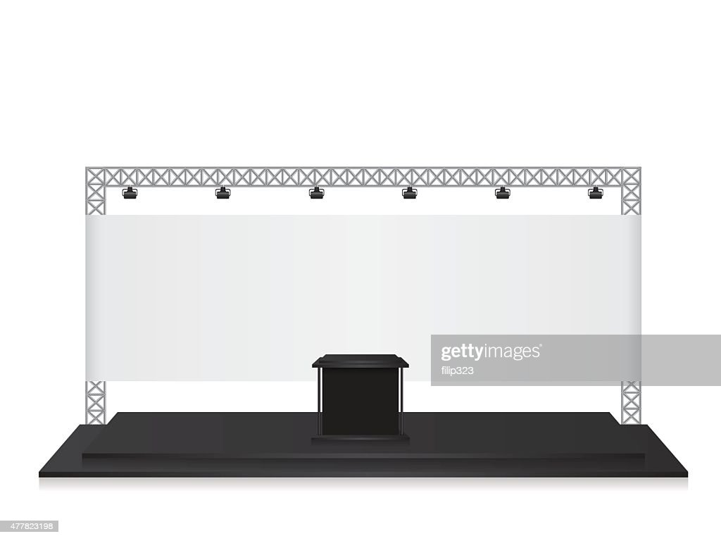 Trade Exhibition Stand Vector : Trade show booth mock up exhibition stand with silhouette of