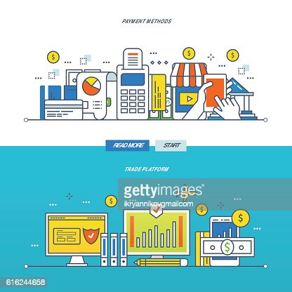 Trading platform, methods of payment for goods and services. : Vector Art