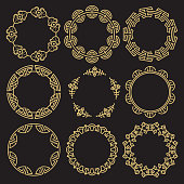 Traditional asian ornamental frames - chinese korean japanese brushes. Vector illustration