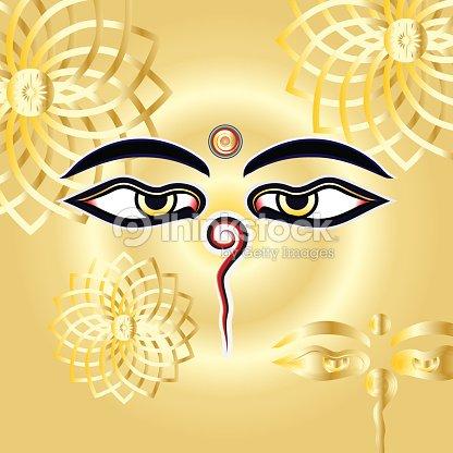 Traditional Buddha Eyes Symbol Wisdom Eyes With Gold Henna Mandalas