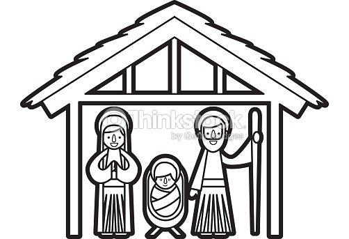 traditional family christmas manger scene baby jesus virgin mary and saint joseph vector art