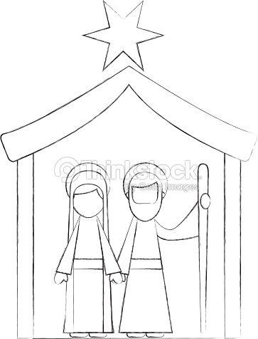traditional family christmas manger scene virgin mary and saint joseph vector art