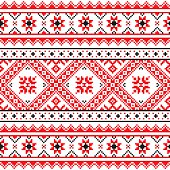 Ethnic seamless Ukrainian print in red an grey on white background