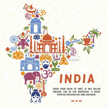 Traditional Indian Symbols In The Form Of India Map Vector Art