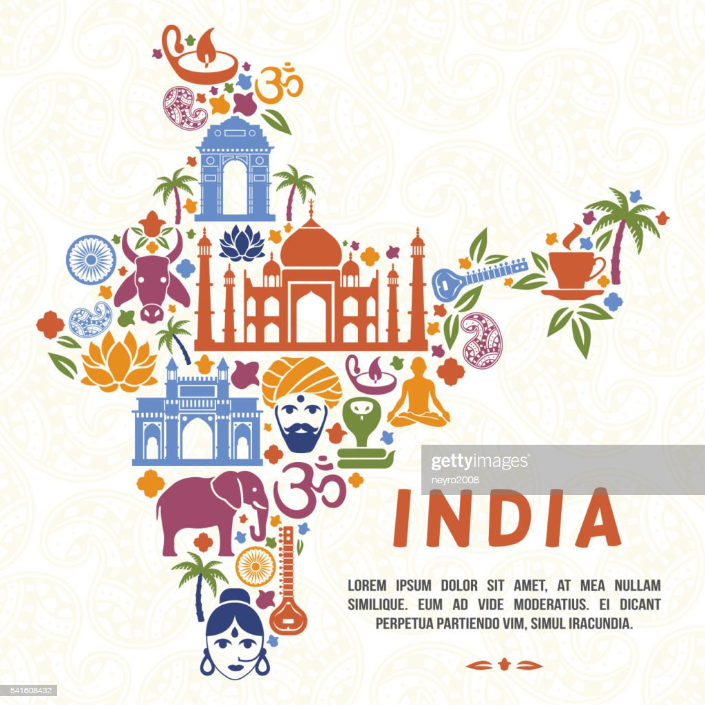 Traditional Indian Symbols In The Form Of India Map : Vector Art