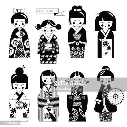 Traditional japanese doll kokeshi dolls black and white