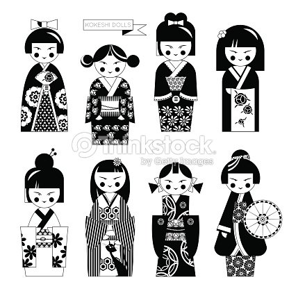 Traditional japanese doll kokeshi dolls black and white