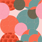 Traditional Japanese pattern. Seamless pattern. Japanese-style background. Vector illustration.
