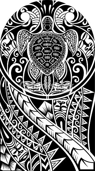 traditional maori tattoo design with turtle vector art. Black Bedroom Furniture Sets. Home Design Ideas