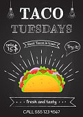 Traditional mexican fastfood taco tuesday poster. Tasty beef meat, salad, tomato in delicious tacos with vintage chalk decoration and sign Taco Tuesday. Vector illustration for food truck design