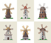 Traditional ancient windmill buildings. Organic agricultural farming and flour production, ecological food manufacturing, clean energy concept. Medieval european travel attraction vector illustration