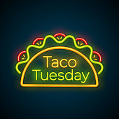 Traditional taco tuesday neon light sign vector illustration. Spicy tacos with beef, green salad and red tomato with big glowing label Taco Tuesday for restaurant or cafe night event advertising