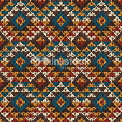 Traditional Tribal Aztec Seamless Pattern On The Wool Knitted