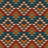 Vector illustration of seamless tribal knitted wool aztec design pattern. EPS available
