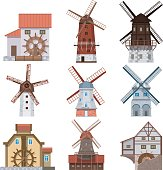 Traditional european windmills and water mills. Icons of old rural windmills in a flat style. Village farm buildings.