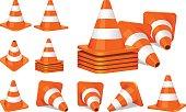 Set of orange plastic traffic cones icon.