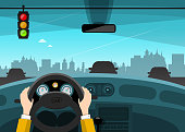 Traffic Light with City on Background. Hands on Steering Wheel. Vector Car Illustration.