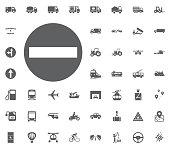 Traffic sign icon. no entry icon. Transport and Logistics set icons. Transportation set icons.