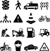 Vector illustration of road traffic sign black icons set on a white background.