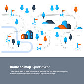 Outdoor sport activity, trail map with flags, countryside landscape, hiking itinerary, vector flat illustration