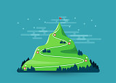 Trail to target. Climbing hiking. Flag on the mountain peak. Way to successful Business. Vector illustration