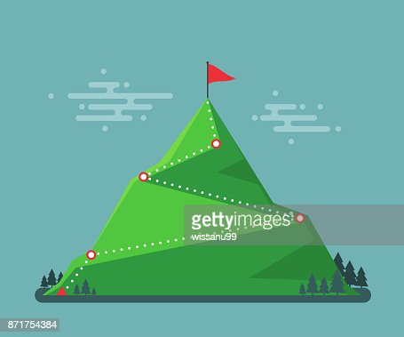 Trail to winner. Climbing hiking. Flag on the mountain peak. Way to successful Business. Vector illustration : stock vector