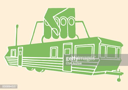 Trailer with Handle Being Picked Up : Vector Art