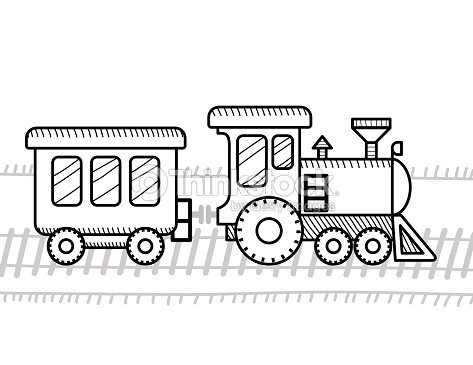 train coloring book for kids vector art - Train Coloring Book