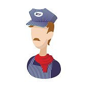 Train conductor cartoon icon on a white background