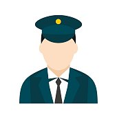Train conductor icon in flat style isolated on white background