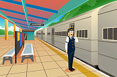 A vector illustration of Train Conductor