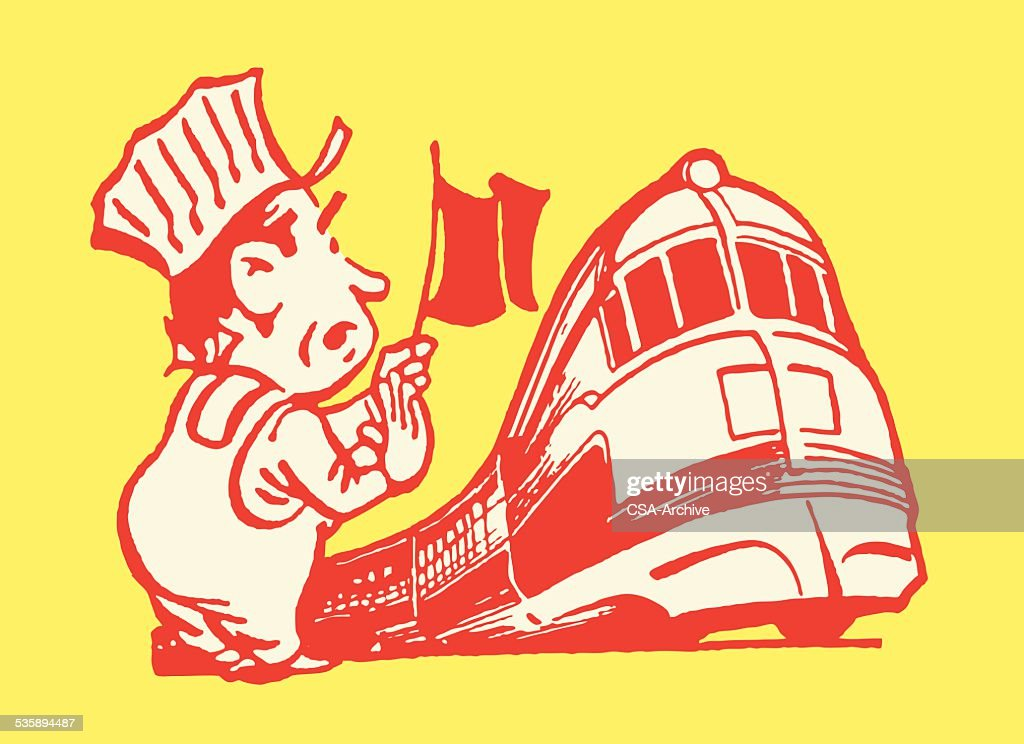 Train Conductor with Flag by Tracks : Vector Art