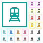 Train flat color icons with quadrant frames on white background
