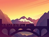 Train on railway bridge with outdoor landscape in orange and eyellow sunset, dawn sun. Vector travel concept background. Train outdoor, transportation, travel. Vector illustration