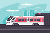 Train rushing out of city in long way. Concept vehicle, road, tourism or trip. Urban background. Vector illustration.
