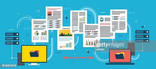 Transfer data between computer and laptop. Backup data and computer network. : stock vector