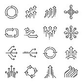 Transition line icon set. Elements with transition effect in outline style. Vector line art illustration isolated on white background