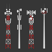Transmission cellular towers vector set. Mobile communications tower with satellite communication antennas. Radio tower for wireless connections.