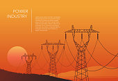 Transmission towers orange landscape background vector template