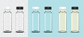 Transparency empty plastic bottle with white and black on transparent background and milk bottle on light blue background ready for your design . Packaging vector