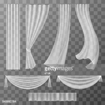 Transparent curtains set : stock vector