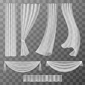 Transparent curtains set in vector