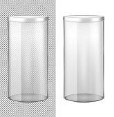 Transparent glass jar with metal lid.