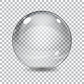 Transparent  glass sphere with shadow on a plaid background. Vector illustrations.